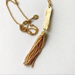 Susan Shaw Gold Tone Bar Necklace Beaded Tassel